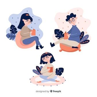 Jovens lendo e relaxando