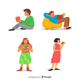 Jovens lendo em posições diferentes