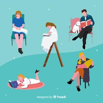 Jovens lendo livros