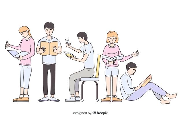 Jovens lendo no estilo de desenho coreano