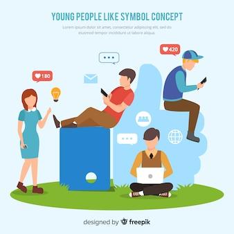 Jovens, ligado, social, mídia, fundo