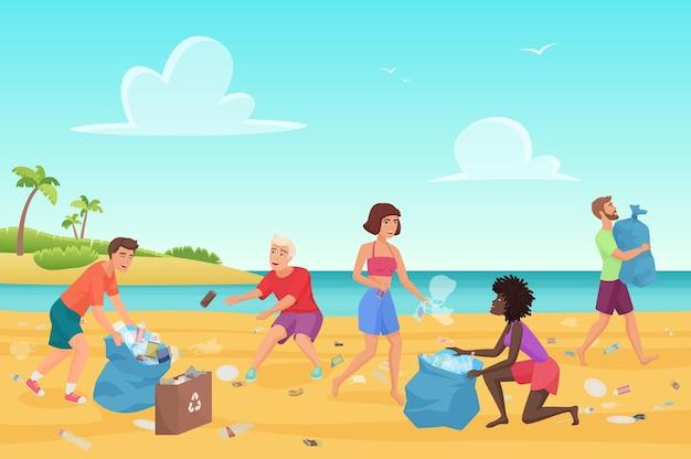 Jovens limpando lixo plástico na orla