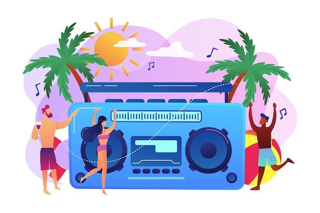 Jovens minúsculos dançando na praia em maiôs e shorts na festa. festa na praia, pista de dança na areia, conceito de convite de festa na praia.