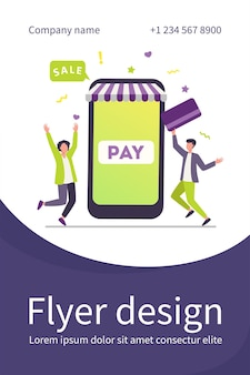 Jovens minúsculos pagando com cartão de plástico via aplicativo para celular