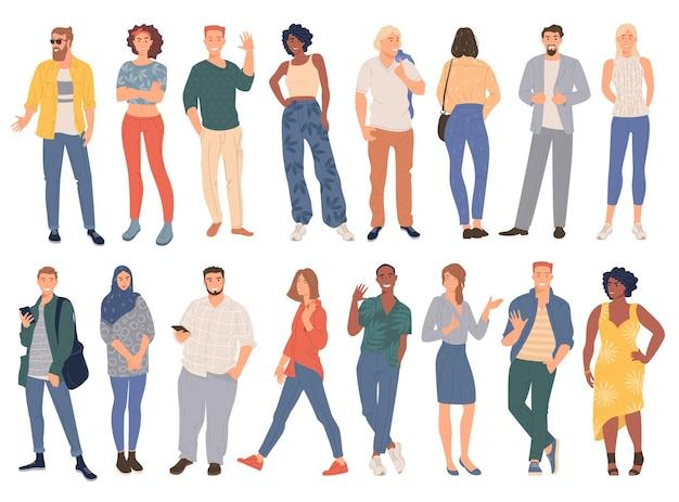 Jovens modernos, homens e mulheres