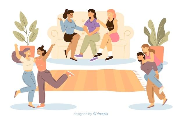 Jovens mulheres a passar tempo juntos