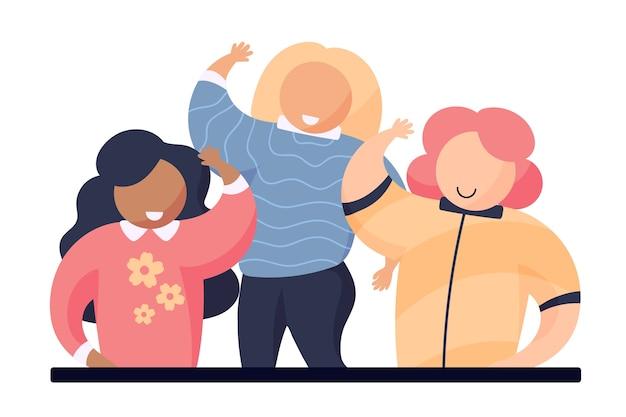 Jovens mulheres acenando a mão