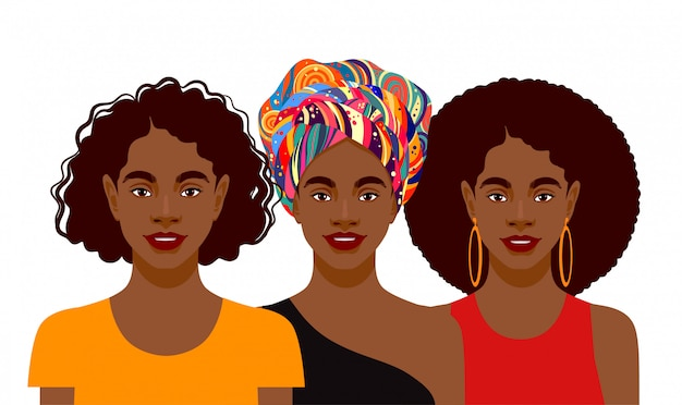 Jovens mulheres afro-americanas atraentes