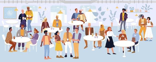 Jovens, mulheres, estudantes, casais românticos, empresários, passar um tempo no café, sala de jantar.