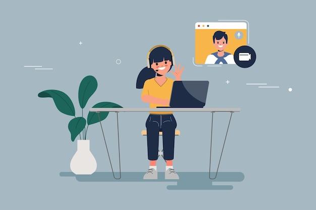 Jovens no conceito de comunicação da conferência casal online encontrando pessoas