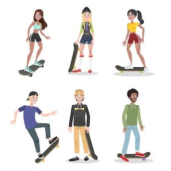 Jovens no parque de skate conjunto de skate. adolescente divirta-se. esporte radical e estilo de vida ativo