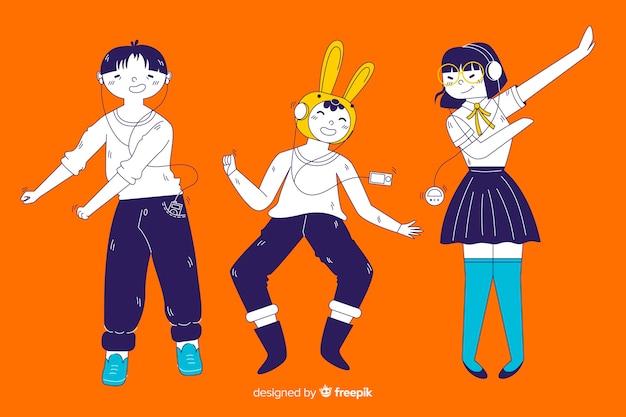 Jovens ouvindo música no estilo de desenho coreano