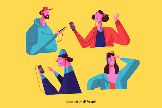 Jovens ouvindo música