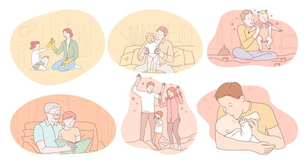 Jovens pais e avós felizes jogando personagens de desenhos animados