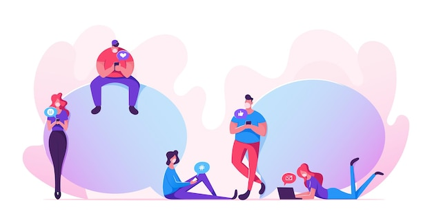 Jovens personagens em máscara médica com smartphones, laptops e dispositivos conversando, comunicando-se durante a pandemia de covid19. pessoas que usam serviços de internet, tecnologias inteligentes. ilustração em vetor de desenho animado