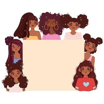 Jovens personagens femininas afro-americanas e um quadro em branco vazio