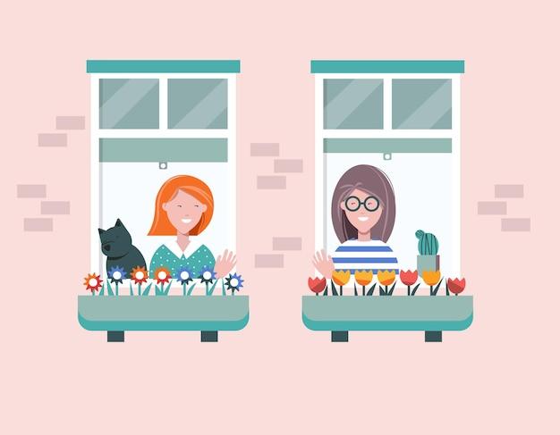 Jovens personagens femininas olhando pelas janelas e acenando umas para as outras neighbours selfisolation