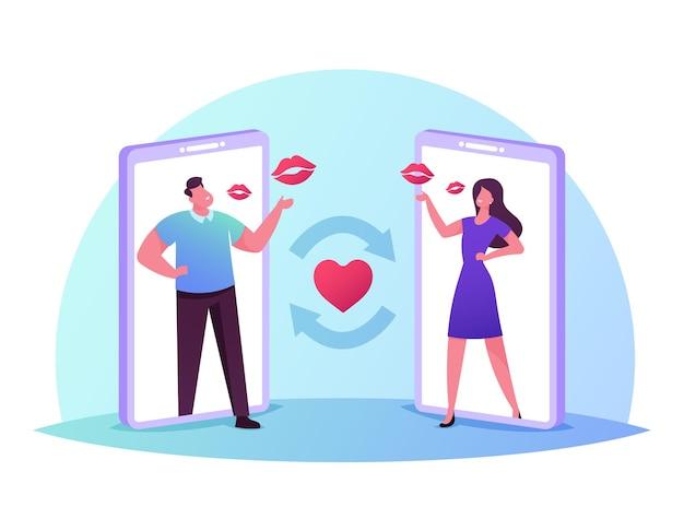 Jovens personagens masculinos e femininos em enormes telas de smartphones trocam beijos no ar
