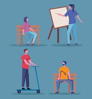 Jovens praticando atividades personagens desenho de ilustração vetorial