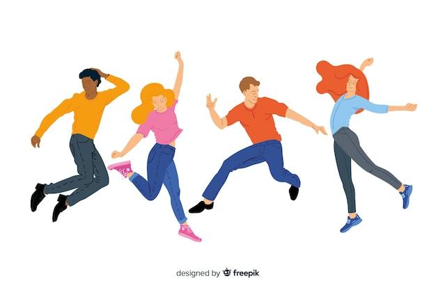 Jovens pulando e se divertindo
