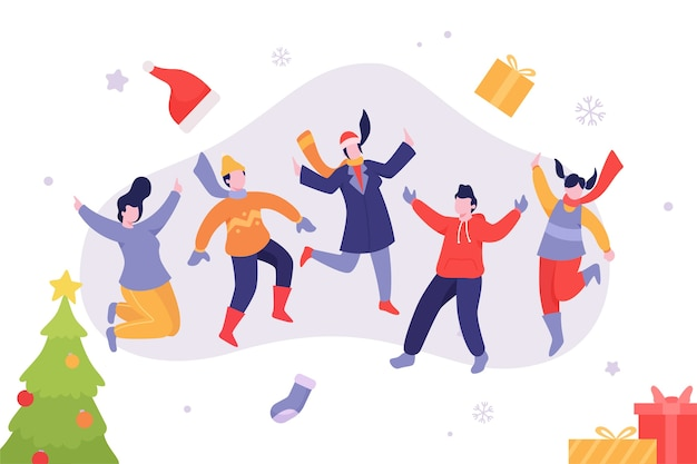 Jovens pulando em roupas de inverno