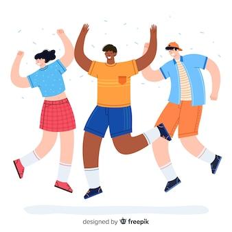 Jovens pulando ilustração