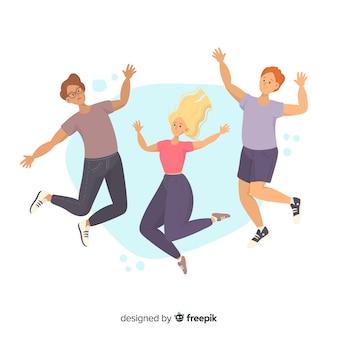 Jovens pulando juntos