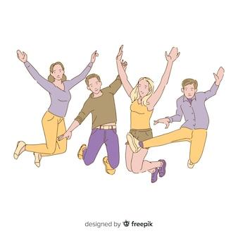Jovens pulando no estilo de desenho coreano
