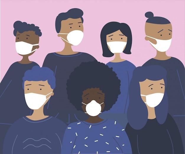 Jovens que protegem da infecção por coronavírus. grupo de personagens adolescentes em máscaras de prevenção. conceito de controle de coronavírus. ilustração dos desenhos animados plana