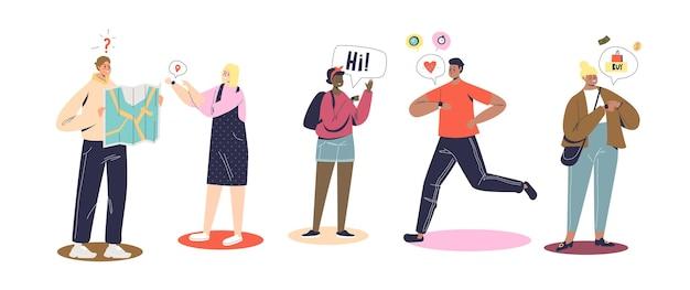 Jovens que usam dispositivos smartwatch para correr, fazer compras, conversar e navegar. aplicações modernas em gadget de pulseira de relógio de pulso vestível. ilustração vetorial de desenho animado
