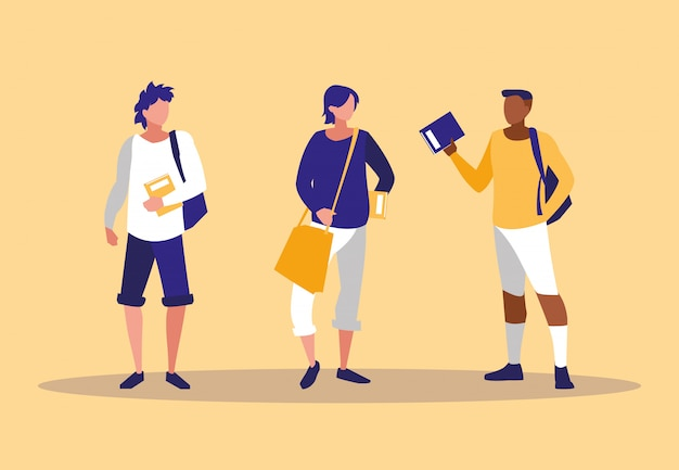 Jovens rapazes inter-raciais modelando com cadernos