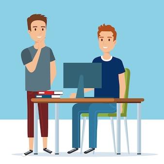 Jovens rapazes nos personagens de avatares de local de trabalho