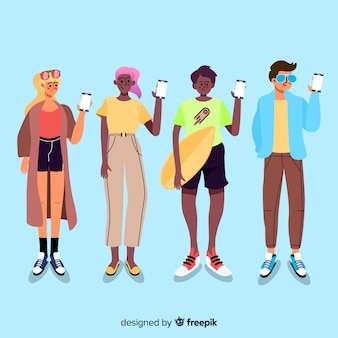 Jovens, segurando a ilustração de smartphones