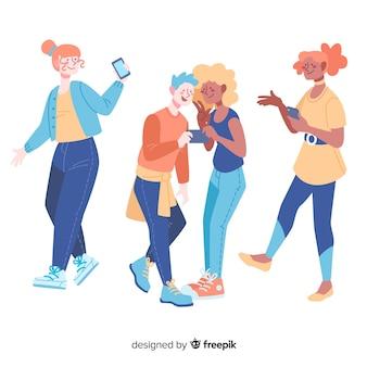 Jovens, segurando smartphones design plano