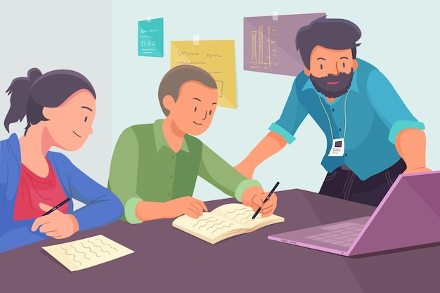 Jovens sendo estagiários em uma empresa