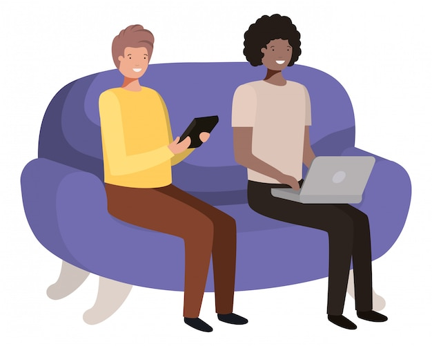 Jovens sentados no personagem de avatar de sofá