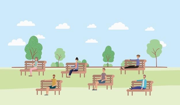 Jovens, sentando, parque, cadeira