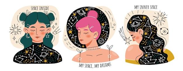 Jovens sonhando com olhos fechados