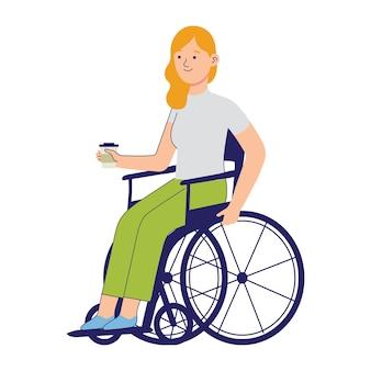 Jovens trabalhadores que sofrem de deficiência e usam cadeiras de rodas