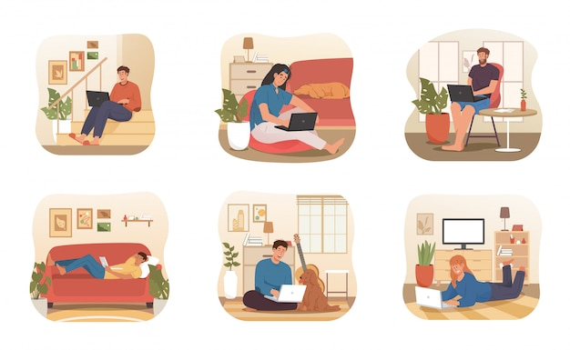 Jovens trabalhando remotamente em casa com animais de estimação e local de trabalho confortável. trabalhe em casa conceito