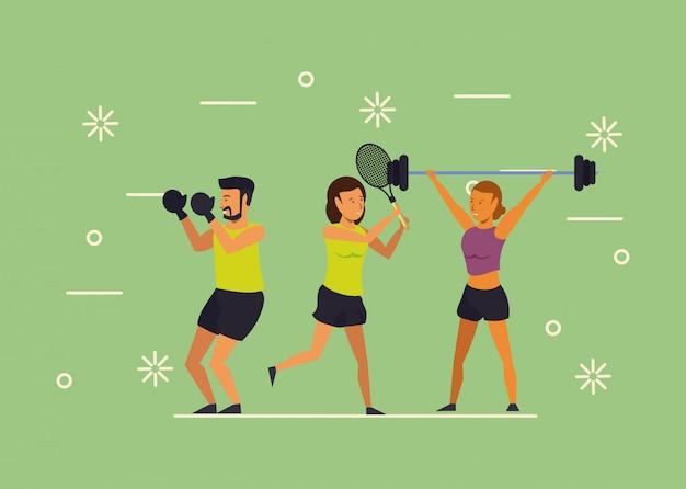 Jovens, treinamento, esportes, caricatura