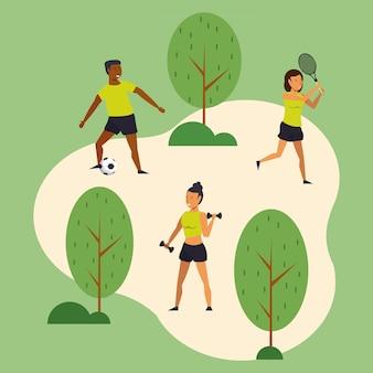 Jovens, treinamento, esportes, parque