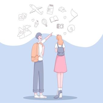 Jovens turistas adolescentes homem e mulher viajando pessoas com itens de viagem, vai em viagem de férias. ilustração em estilo simples