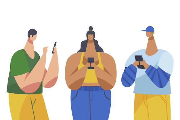 Jovens usando coleção de smartphones