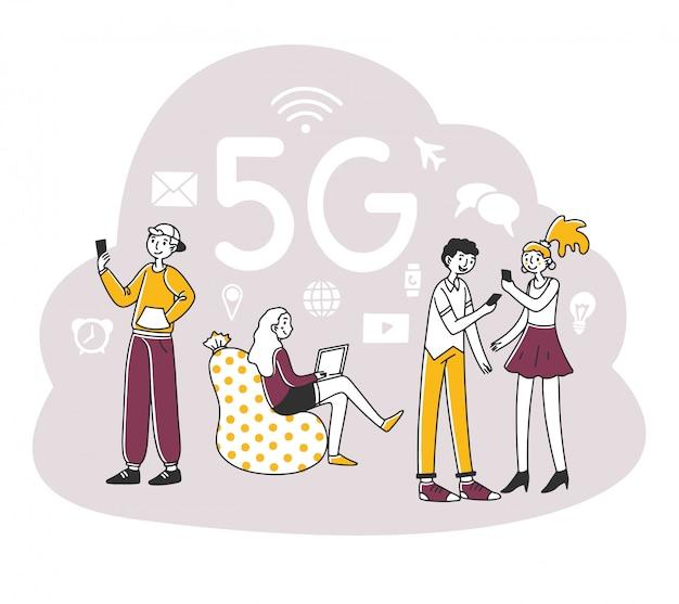 Jovens usando dispositivos digitais