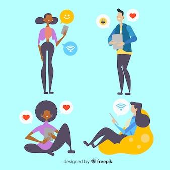 Jovens usando dispositivos tecnológicos. conjunto de design de personagens