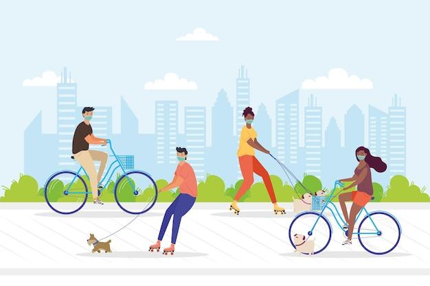 Jovens usando máscaras médicas em bicicletas e patins com cães no parque ilustração design