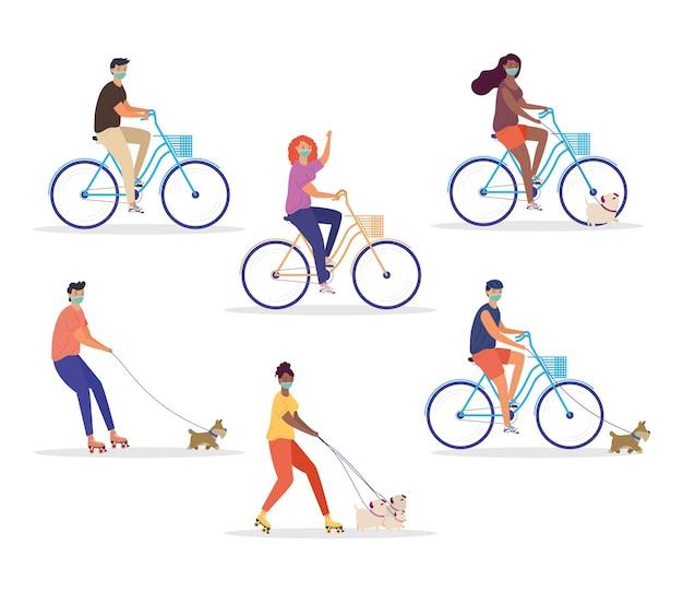 Jovens usando máscaras médicas em bicicletas e patins com desenho de ilustração de mascotes