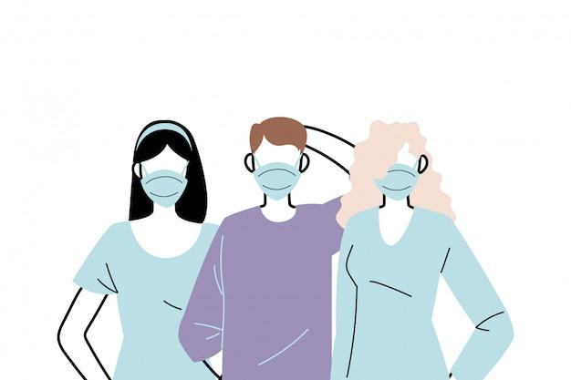 Jovens usando máscaras para prevenir vírus