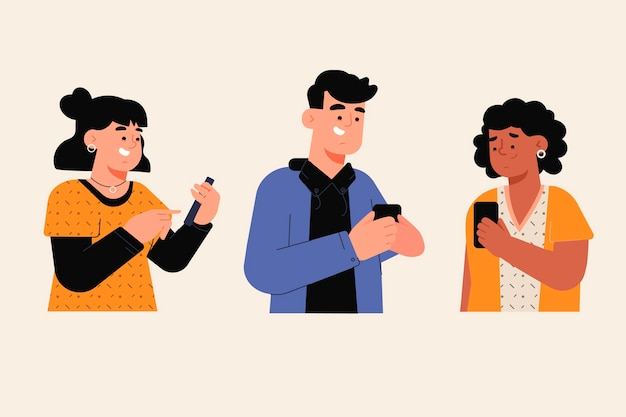 Jovens usando smartphones